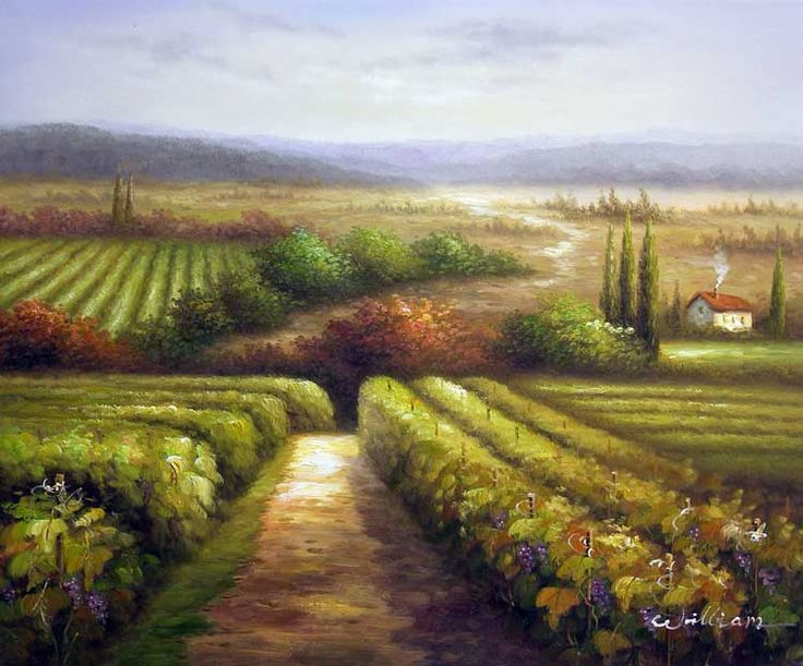 Scenic Oil Paintings Tuscany Italian Vineyard Winery