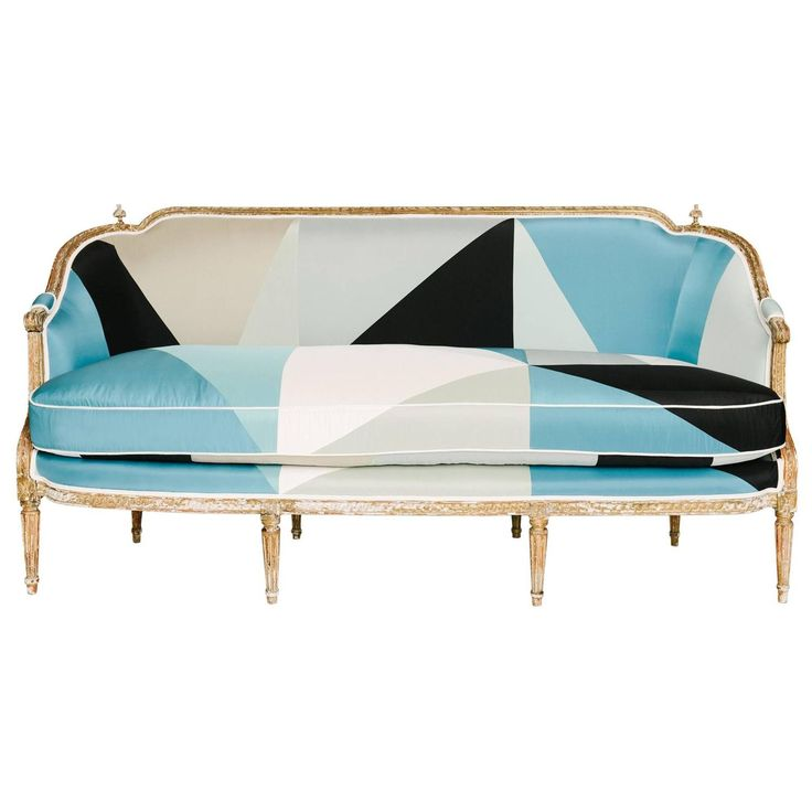 19th Century Louis XVI Style Miles Redd Cubist Silk Sofa | From a unique collection of antique and modern sofas at https://www.1stdibs.com/furniture/seating/sofas/