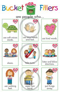 Lanie's Little Learners: Have You Filled a Bucket Today? examples of bucket fillers