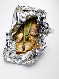 Tonight's dinner. I used flounder instead of bass, omitted the mirin, and used sea salt to season. DELICIOUS, and baked in a foil pouch so no mess! Very low fat, low carb, and high in protein too!