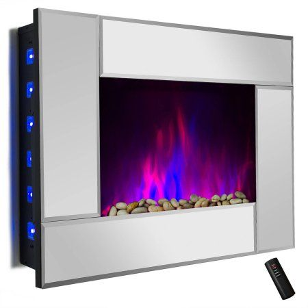 akdy fp0050 36 inch 1500w wall mount electric fireplace heater with tempered glass pebbles