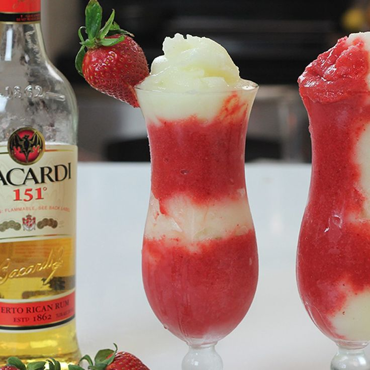 MIAMI VICE Strawberry Layer: 2 oz. (60ml) Bacardi 151 2 Cups Strawberries 1 1/2 oz. (45ml) Simple Syrup 1/2 oz. (15ml) Grenadine Pineapple Layer: 2 oz. (60ml) Bacardi 151 1 1/2 oz. (45ml) Cream of Coconut 1 1/2 oz. (45ml) Pineapple Juice Pineapple Slice Garnish: Strawberry PREPARATION 1. Blend the ingredients for each layer in a blender with ice and pulse until smooth. 2. Pour the two mixes into a hurricane glass alternating layers, or at the same time, using a spo...