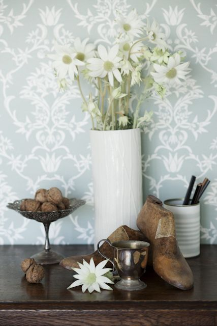 Flannel flower damask in White on Sage www.moorewallpaper.com.au Styled by Diana Moore