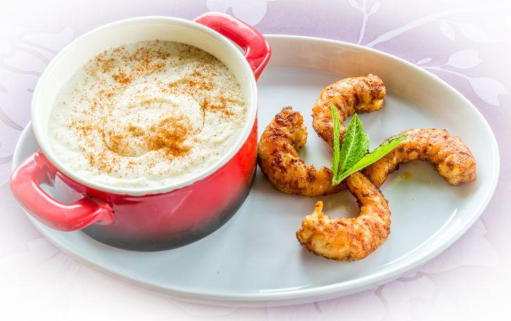 Crème de choux fleurs et crevettes, 215KCal par portion, recette saine, recette minceur, bien être, 3b nutrition
