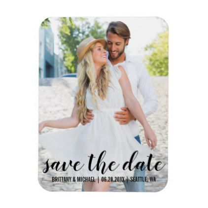 Modern Save The Date Engagement Photo Magnet BWB - photo gifts cyo photos personalize