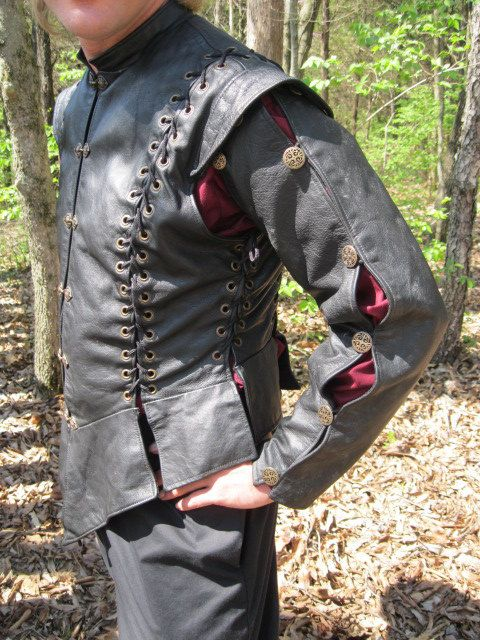 Laced Leather Doublet 40 black by RoguesToRegals on Etsy, $401.00 (Leather doublet - Trelaine's sport wear?)