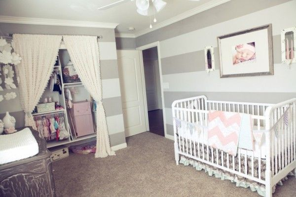Sweet baby room. Love the stripes