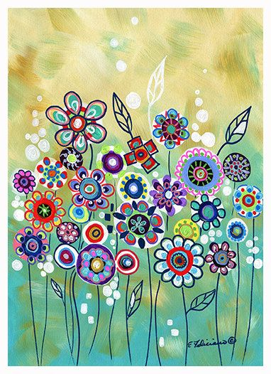 "Fine Art Print Whimsical art ""The Wishing Garden"" Modern Abstract Contemporary Art. $ 14.99, via Etsy."