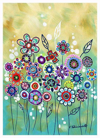 "Fine Art Print Whimsical art ""The Wishing Garden"" Modern Abstract Contemporary Art. $ 14.99, via Etsy."