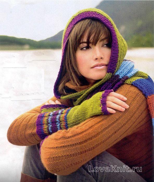 Схема спицами цветной шарф-капюшон