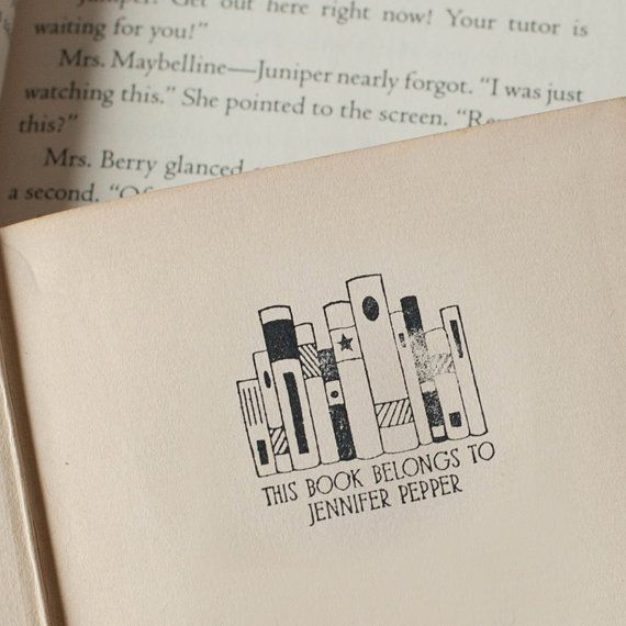 Self-Inking BOOKPLATE stamp personalized library stamp - This book belongs to
