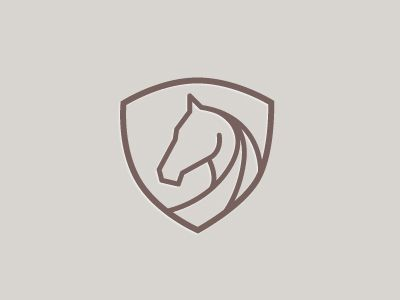 A beautifully balanced horse and shield logo.