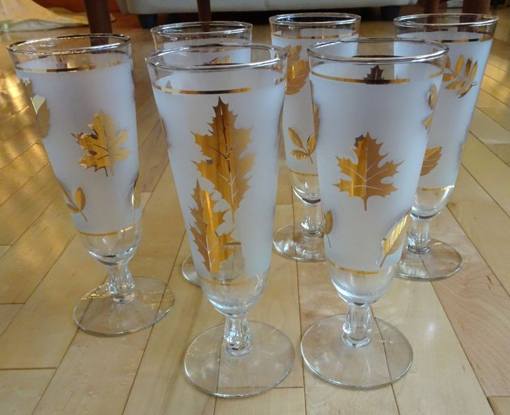 Set of 6 Vintage Libbey Starlyte Beer Glasses, Frosted with Gold Leaves | Mid Century Modern Bar Ware | Mad Men Style Pilsner Glasses by SimplyAgain on Etsy