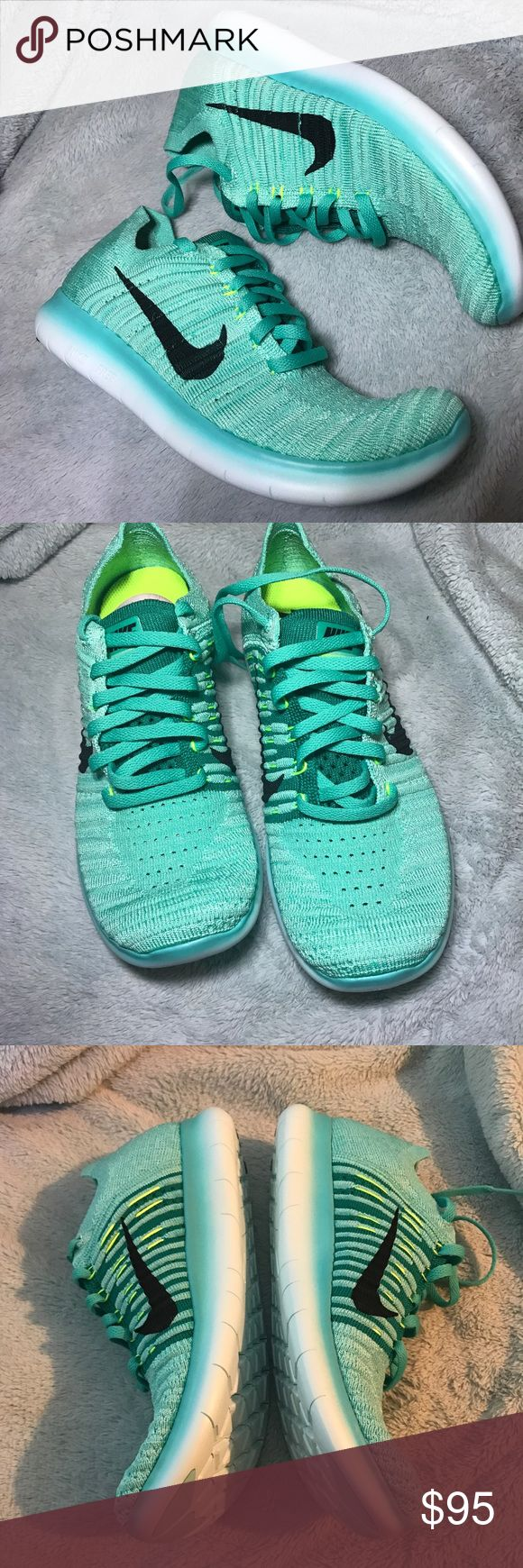 Women's Nike Free Run Flyknit size 8 NEW Brand new if box Tiffany color Nike free run Flyknit sneakers. Great color for spring ! Very comfortable sneaker Nike Shoes Athletic Shoes