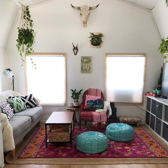 I Used To Shy Away From Decorating With Bright Colors And Always Tended Towards Greys And Wood Tones But In The Proces Tiny House Living Home Decor Shed Homes