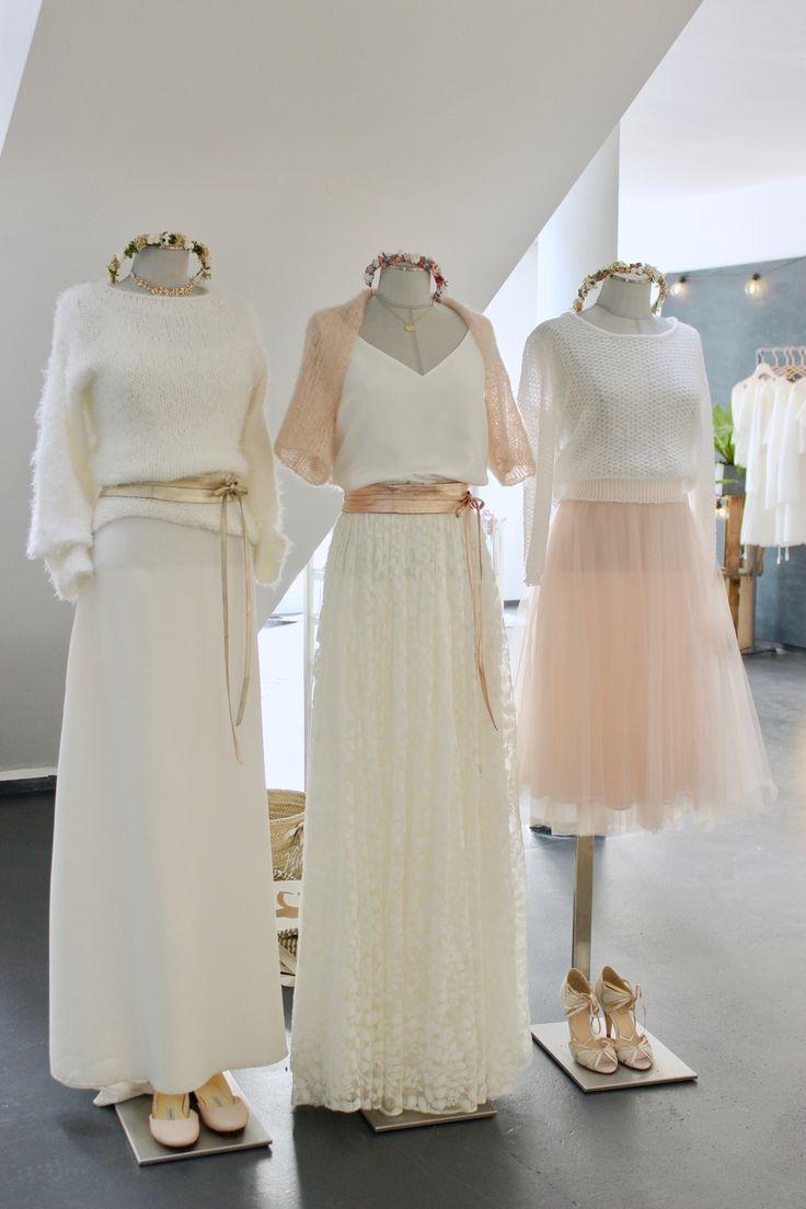 Moderne Hochzeitskleider und zweiteilige Brautkleider für die Hochzeit im Herbst, Winter oder Fruehling, mit Braut Pullover und Tuellrock.