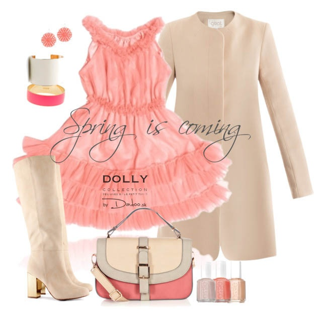 Ruffled dance dress in coral color. Match with beige or cream color. Available in many colors.