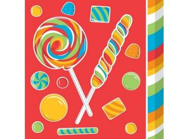 Candy Print Beverage Napkins, Package of 16 (Sugar Buzz) - Whish.ca