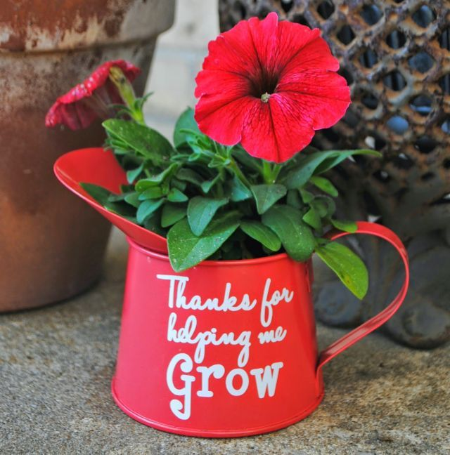 With a sweet message, this dollar store watering can turns into the perfect end-of-year present for your kid's favorite teacher. Get the tutorial at Silhouette School »   - CountryLiving.com