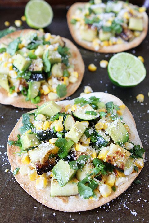Grilled Zucchini and Corn Tostadas Recipe on twopeasandtheirpod.com Love this simple summer recipe! #vegetarian @twopeasandpod