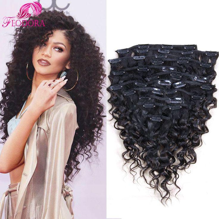Clip in human hair extensions deep curly virgin Brazilian human hair african american clip in hair extensions clip in stocked