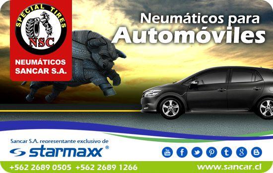 Neumáticos para Autos sedan y hatchback Neumáticos Starmaxx línea TOLERO y NOVARO con índice de velocidad para turismo y ciudad. Ofrece un control perfecto y confort de manejo brindando una marcha silenciosa y segura. Representante Exclusivo en Chile de Starmaxx Neumáticos Sancar, Todos en un solo lugar.  http://www.sancar.cl/ | ventas@sancar.cl |+56226890505 | +56226891266