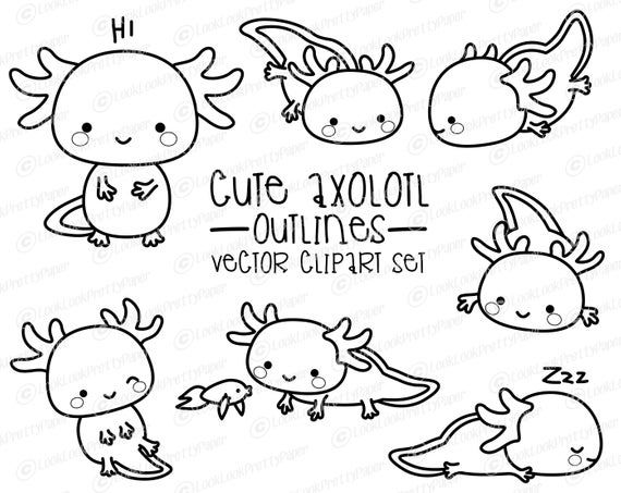Premium Vector Clipart Kawaii Axolotl Outlines Cute Etsy Clip Art Cute Easy Drawings Axolotl