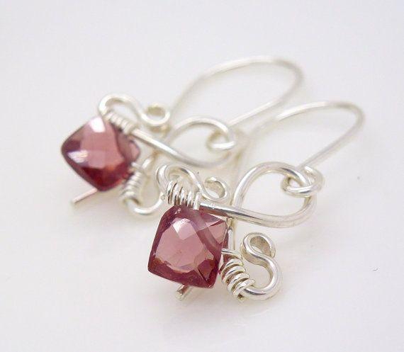 Rose pink quartz earrings in sterling by CreativityJewellery, $40.00
