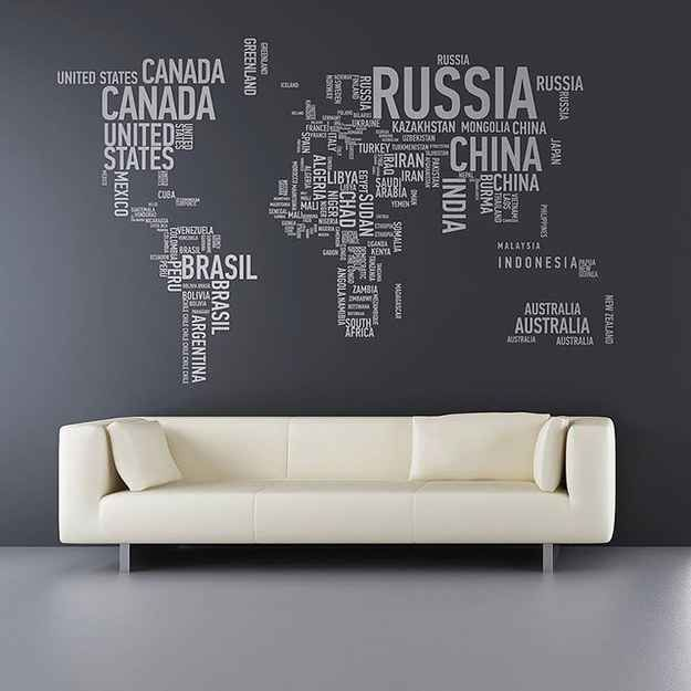 Bring the world into your room with this minimalist design. Ideal for those who love typography.   28 Inspiring Decor Ideas To Satisfy Your Wanderlust