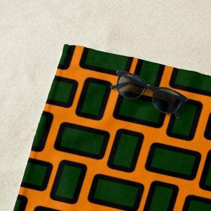 Blocks Green Orange Modern Beach Towel - modern gifts cyo gift ideas personalize
