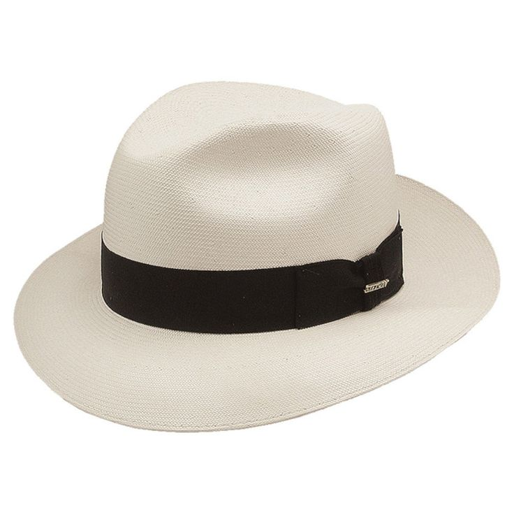 """Stetson Bentley - Panama Straw Fedora Hat $153.98   Simple and classic, the Bentley from Stetson's Premier Straw Collection has a regal look that's adds an air of sophistication to any man's attire. This hat features 2 1/2"""" brim and a pinchfront crown. It's constructed with from premium Shantung straw with a 3-Bu weave that produces a high quality very fine appearance. A grosgrain ribbon band finishes off the look."""