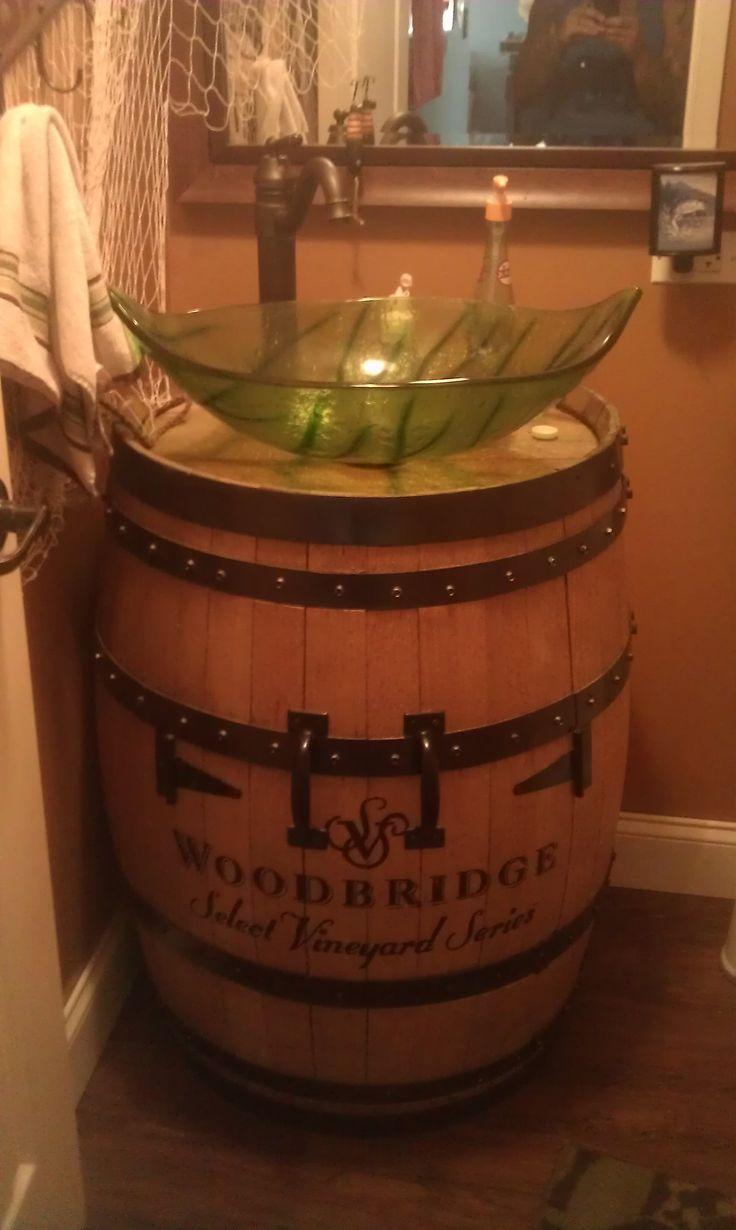 The 25 best wine barrel sink ideas on pinterest barrel for Whiskey barrel bathtub