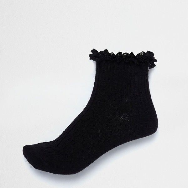 River Island Black frill cable knit socks ($5.01) ❤ liked on Polyvore featuring intimates, hosiery, socks, accessories, frilly socks, cable sock, chunky cable knit socks, ruffle socks and frill socks