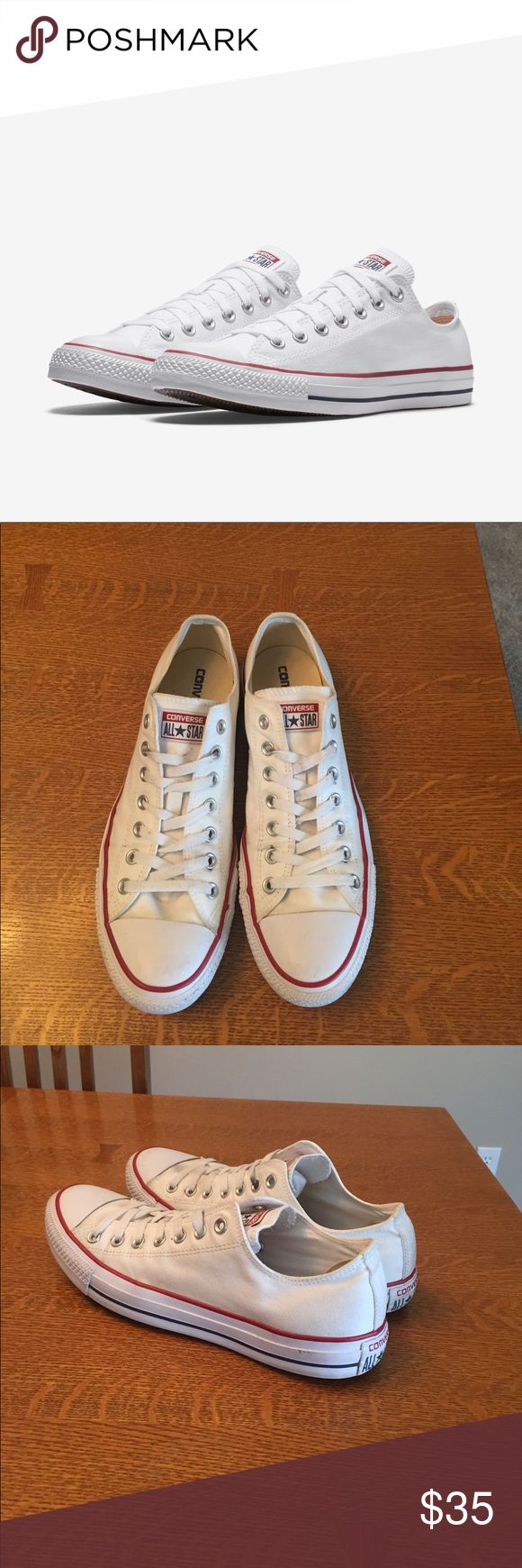 White converse Chuck Taylor All star Low White Chuck Taylor All Star Converse sneakers. Lightly worn with minimal dirt/scuffs on the exterior! Shoes in awesome condition as you can see! Converse Shoes Sneakers