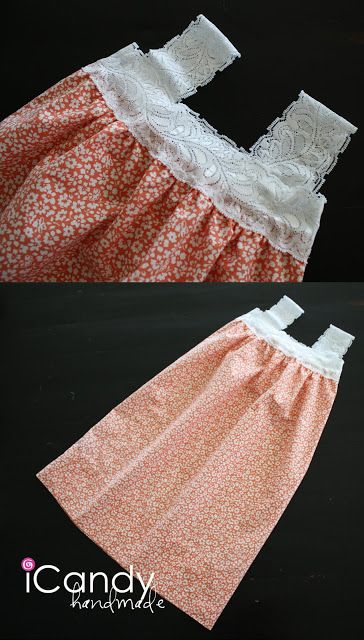 Easy (tutorial) pillowcase nightgowns! Materials Needed 2- 2 1/2″ wide stretch lace, pillowcase & matching thread