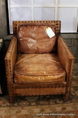 29 Square Back Armchair Top Grain Buffalo Leather Light Brown Antique  Distress