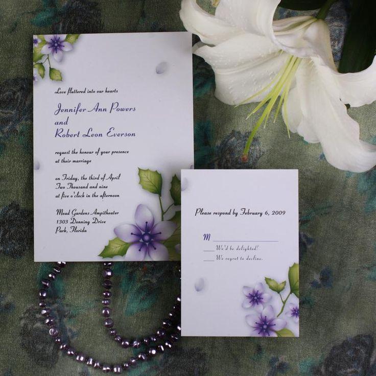 purple white silver wedding invitations%0A purple flower elegant inexpensive spring wedding invitation EWI