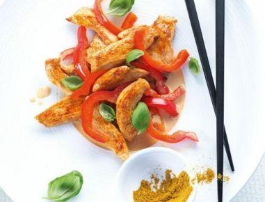 Hühnchengeschnetzeltes+mit+Paprika+aus+dem+Dampfgarer
