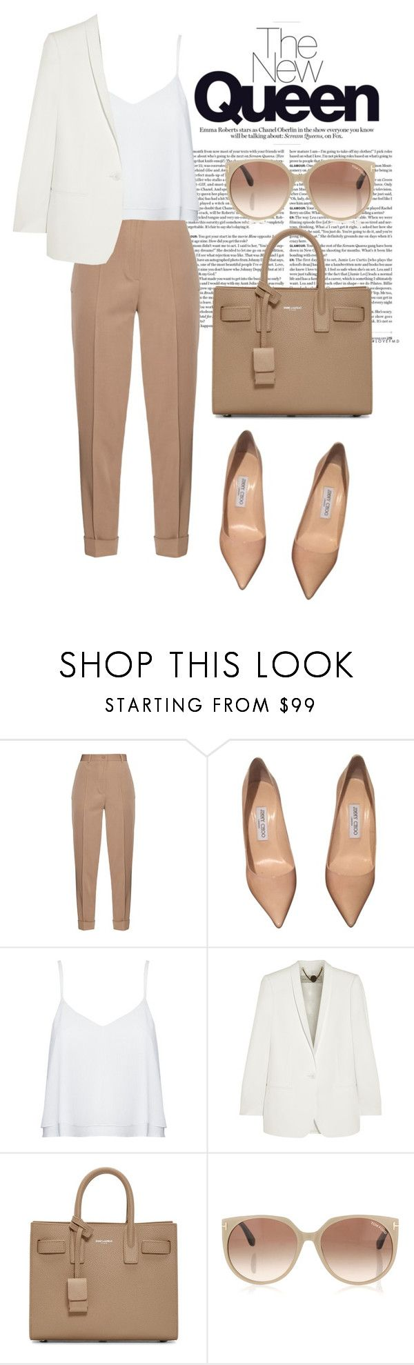 """Nude trends"" by neflaluna on Polyvore featuring Bottega Veneta, Jimmy Choo, Alice + Olivia, STELLA McCARTNEY, Yves Saint Laurent, Tom Ford, women's clothing, women's fashion, women and female"