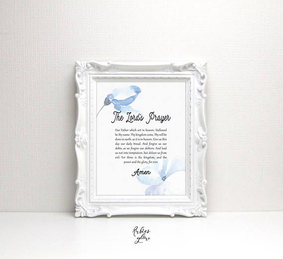 Lord's Prayer with blue watercolor flowers printable - Bible verse - Christian quote - Faith - Printable Wall Art - Instant download digital