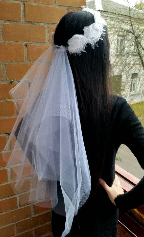 16$ Bachelorette party Veil white, with flower band, long length. Bride veil, accessory, bachelorette veil, wedding veil, hens party veil