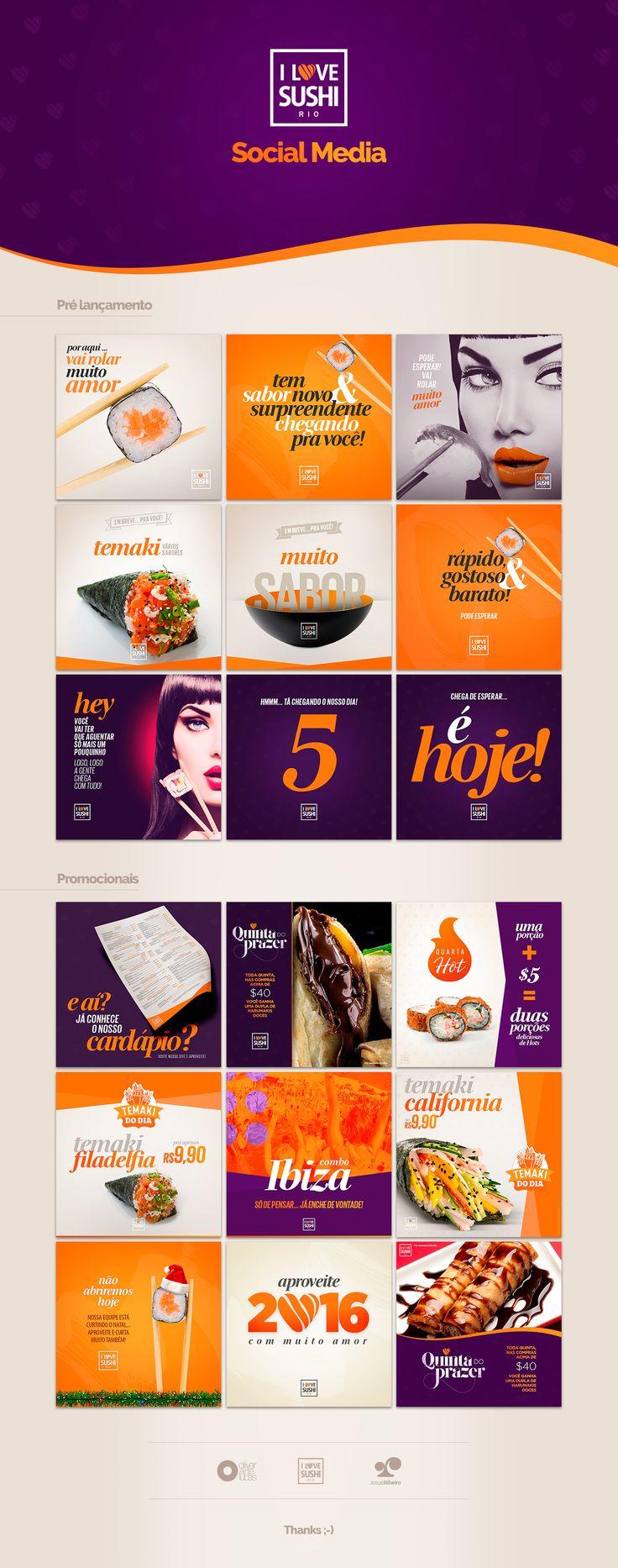 Peças compondo projeto de marketing digital para restaurante delivery de comida japonesa.