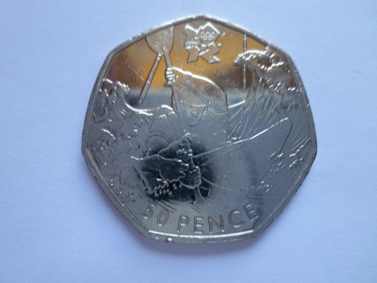 50p British Money 2011 LONDON OLYMPICS 2012 The Canoeing coin by Timothy Lees