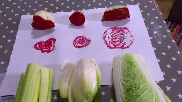 Tryck rosenmönster med sallad, selleri och kål