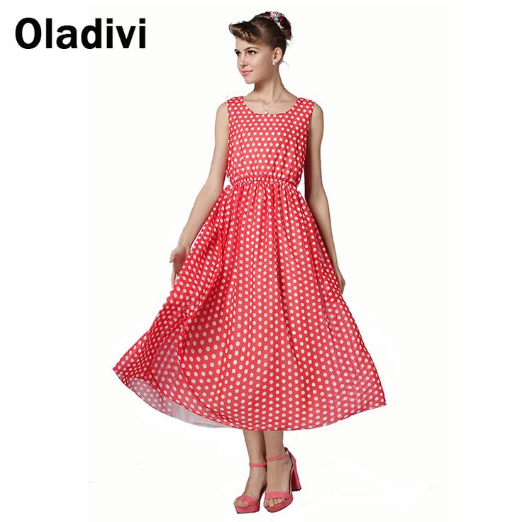Find More Dresses Information about Summer 2015 Women Fashion Slim Elastic Waist Red White Polka Dot Printed Long Maxi Tank Holiday Casual Dresses Beach Wear QZ027,High Quality Dresses from Oladivi Group - Minabell Fashion Store on Aliexpress.com