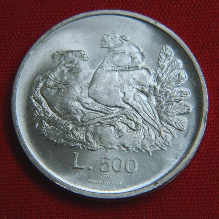 Идеальные 500 лир Сан Марино 1974 BU птицы животные  СЕРЕБРО Аукцион с Рубля
