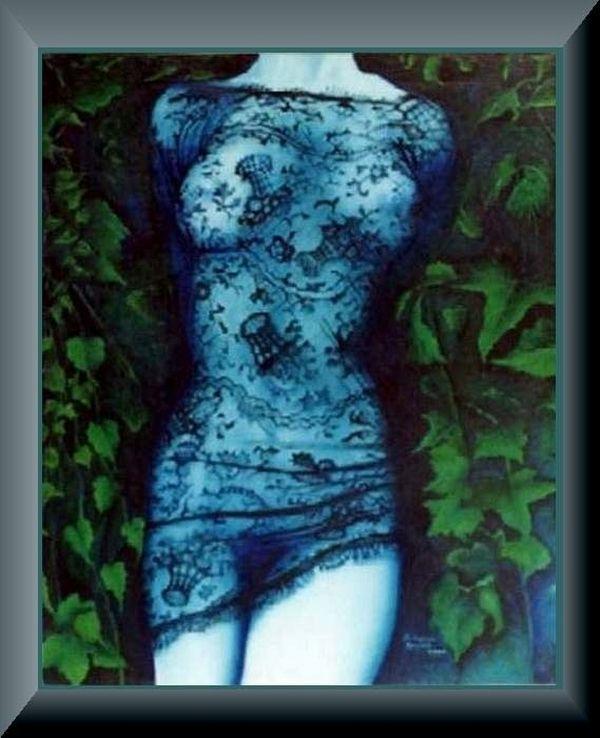"""Łukasz Kocjan MALARSTWO Seria """"KORONKI"""" Niebieski   The series """"LACE"""" Blue  olej na płótnie 92x 70 cm.   oil on canvas 92x 70 cm."""