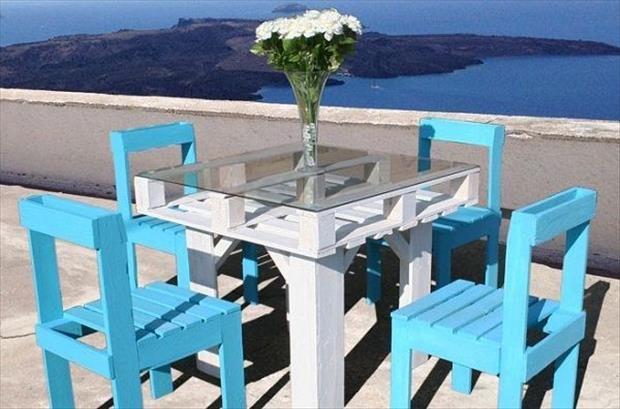 Recycler palette en bois en table et chaise