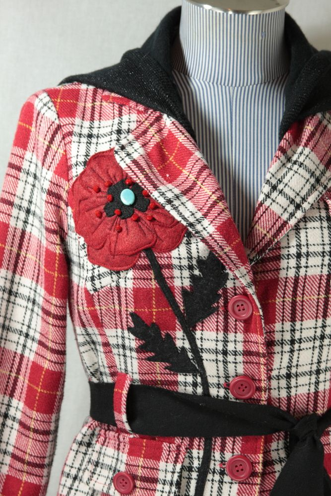 Bella Sisters Plaid Poppy - with flannel shirts, restructure, and add Japanese Kanzashi fabric flowers and wool felt or embroidery stem/leaves