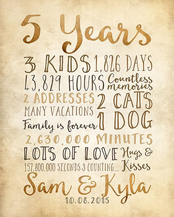 5th anniversary 5 year anniversary gifts rustic by
